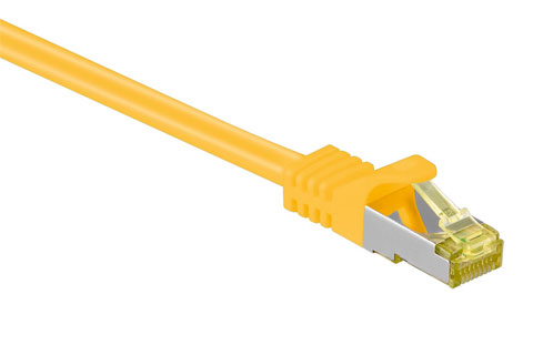 Network cable, CAT 7, yellow