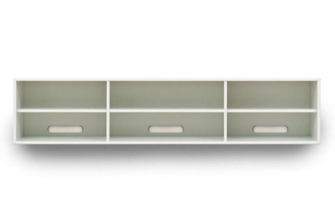Kvalitets design møbel fra Frislev i MDF, med flotte afrundede kanter. Kan indrettes med låger, skuffer eller ekstra hylder.