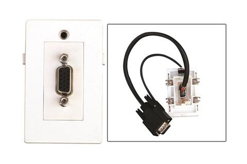 VGA og Minijack vægdåse til Fuga installationsdåser/underlag. (VGA HUN - HAN)