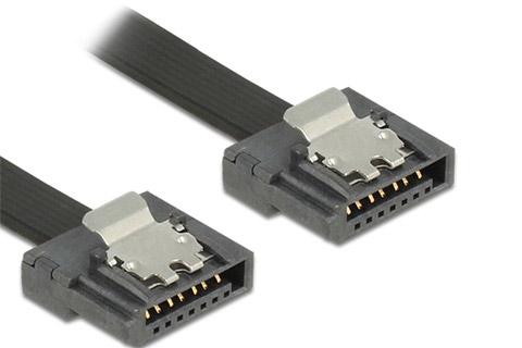 SATA 600 Flexi kabel (sort) 20 cm.