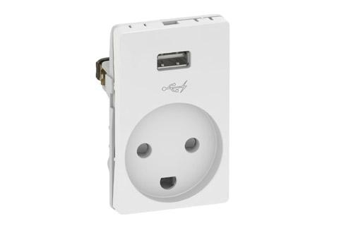 LK stikkontakt med USB, hvid