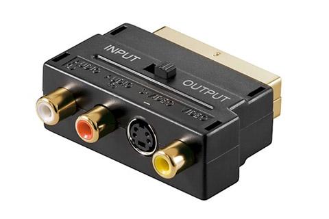 Scart multi adapter, Ind/ud (S-Video, Composite, Audio), guldbeslagt