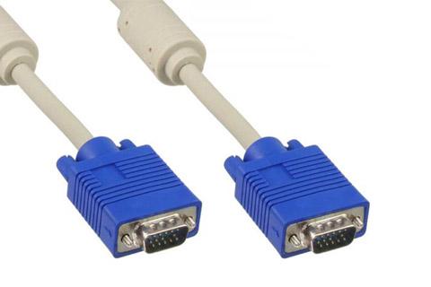 VGA Monitor Kabel m. ferrit kerne, grå, 0.50 meter