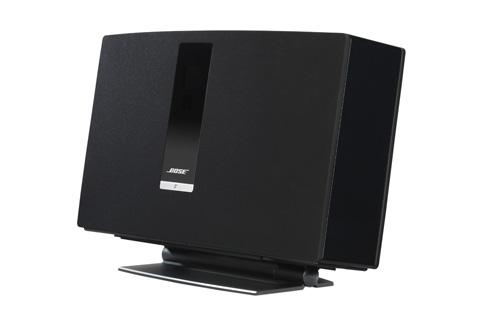 Bordstander i aluminium til SoundTouch 30. SoundXtra bordstanderen gør det muligt at tilte højttaleren op eller ned, så lyttepositionen kan rammes optimalt.