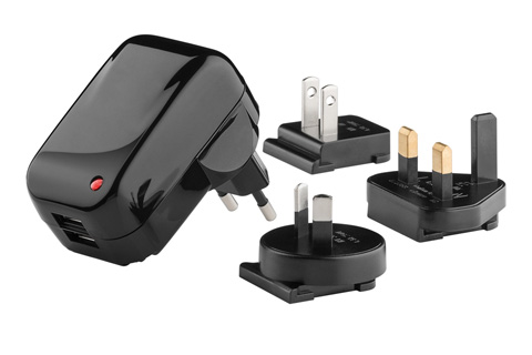 Dual USB lader inkl. rejseadaptere