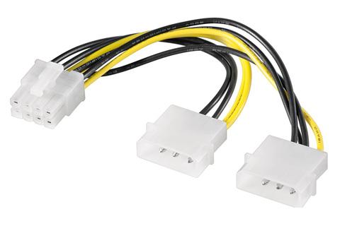 Strøm kabel PCI Express 8 pin han til 2 x 4 Molex han