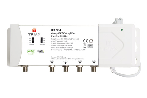 Proffesional 4-way amplifier for Cable TV installation.