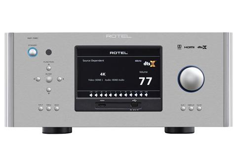 Kraftfuld high-end Dolby Atmos surroundreceiver fra Rotel, der leverer 7x100W i 8 Ohm med alle kanaler i drift.