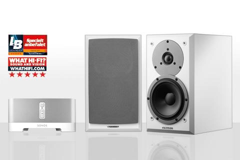 SONOS Connect AMP og Dynaudio EMIT 10, hvid