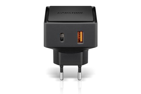 QC 3.0 USB Type C oplader med max output på 6000mA for lynhurtig opladning af smartphone/tablet. Denne USB oplader har både en USB-C og en USB-A udgang.