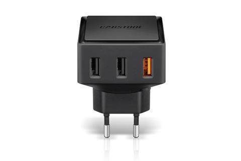 3-ports USB oplader på op til 6000mA og med Qualcomm Quick Charge teknologi, for lynhurtig opladning af smartphones/tablets.