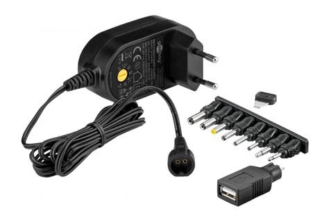 Universal AC/DC strømforsyning, 3-12V, 600 mA
