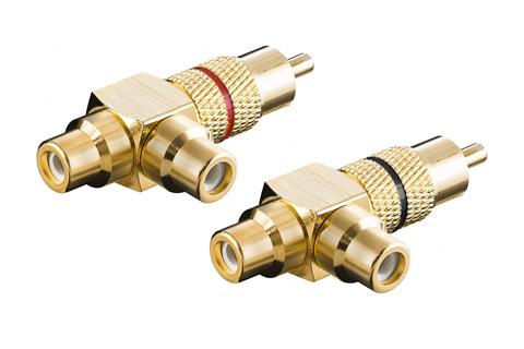 Phono RCA adapter(1 x RCA han - 2 x RCA hun)