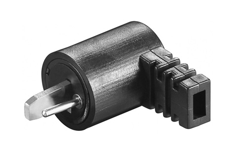 Angled DIN loudspeaker plug with screw connection.