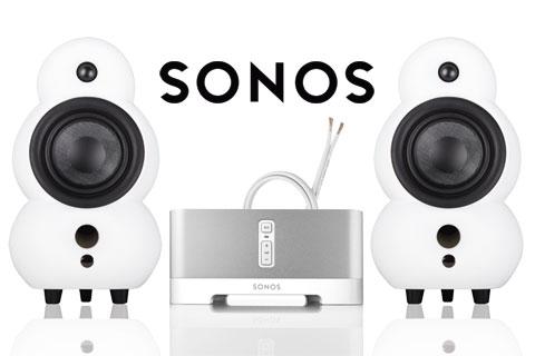 SONOS og MiniPod stereo system, mat hvid