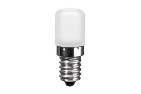 Kompakt kvalitets 1.8 watt LED pære med E14 fatning, til steder med lidt plads eller til erstatning af køleskabspæren, svarer til en 15 watt halogenpære.