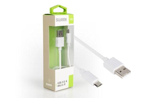 Sweex USB 2.0 kabel (Type A - Micro), hvid