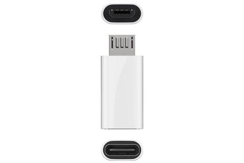 Micro B til USB-C adapter, hvid