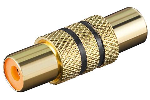 Mono forlænger adapter, sort venstre, guldbelagt