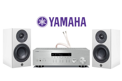 System Audio Mantra5, hvid satin inkl. Yamaha R-N403D sølv