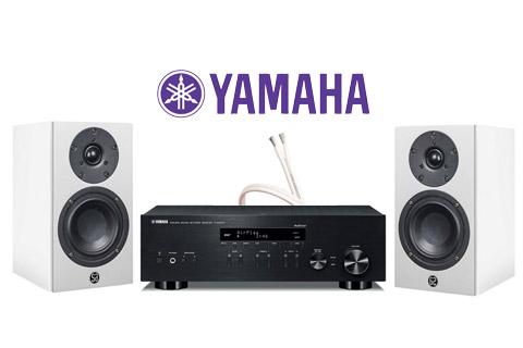 System Audio Mantra5, hvid satin inkl. Yamaha R-N403D sort