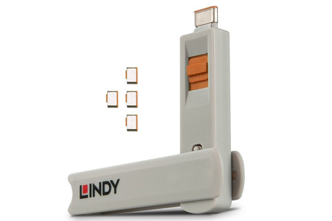 Lindy USB-C/ Thunderbolt 3 port blocker, orange