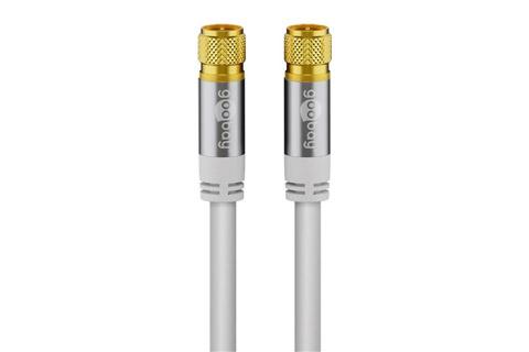 Goobay lige F-stik antennekabel, hvid