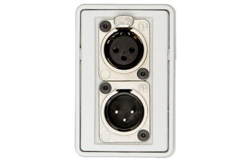 3-pin XLR vægdåse (1x XLR han, 1x XLR hun), hvid