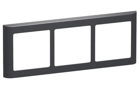 LK FUGA Softline Design ramme, 3x1 vandret modul, koksgrå