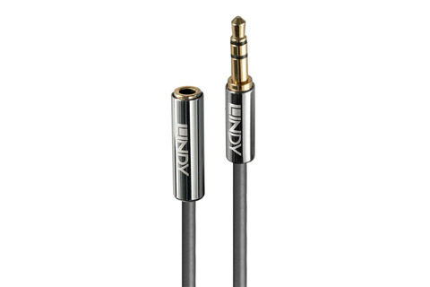 Lindy Cromo 3.5mm Audio Extension Cable, MiniJack, grey, 0.50 meter