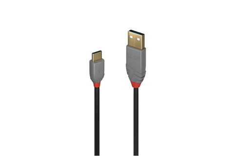 Lindy Anthra line USB 2.0 kabel (USB type C - A), sort, 0.50 meter