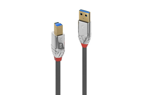 Lindy Cromo USB 3.2 Gen 1 Type A to B Cable, grey, 0.50 meter