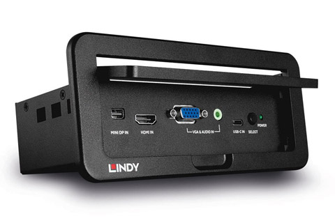 Lindy 4K multi-format præsentations switch til konferencebordet - Front side