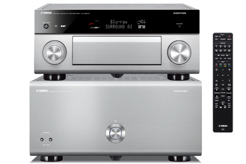 Yamaha Aventage A5x00 surround processor and amplifier system incl. XLR cables, alu titan