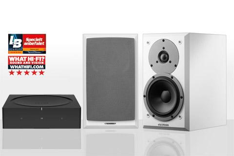 SONOS AMP og Dynaudio EMIT 10, hvid