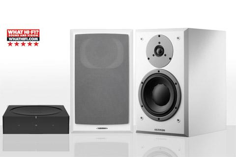 SONOS AMP og Dynaudio EMIT 20, hvid