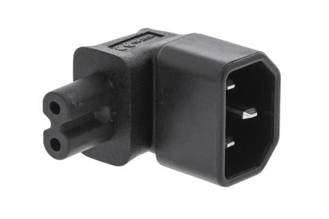 Vinklet C14 til C7 adapter