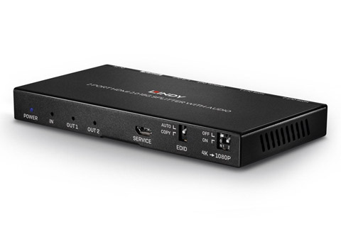 Lindy 2 Port HDMI 2.0 18G Splitter with Audio - Front