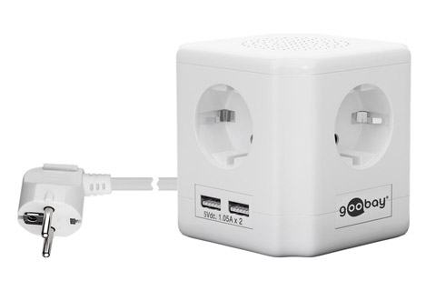 Goobay 4-way socket cube with switch and 2 USB ports