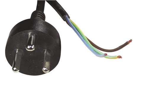 230V EDB power cable with loose cable end, black, 2.00 meter