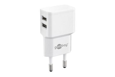 Goobay USB oplader - 2,4 Amp - Hvid