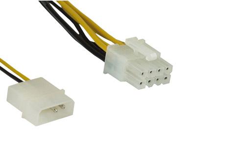 2-polet molex til 8-polet PCI strømkabel til bundkort, 0.45 meter