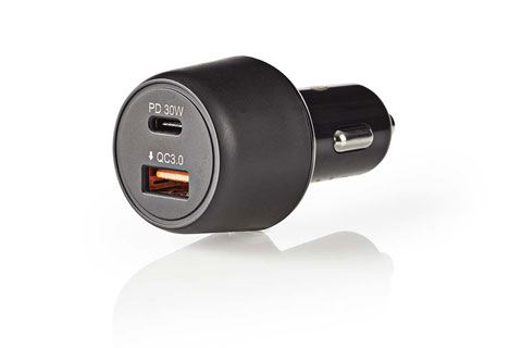 Nedis Dual USB 12V car charger (3.000mA/Power Delivery 30W) - Black