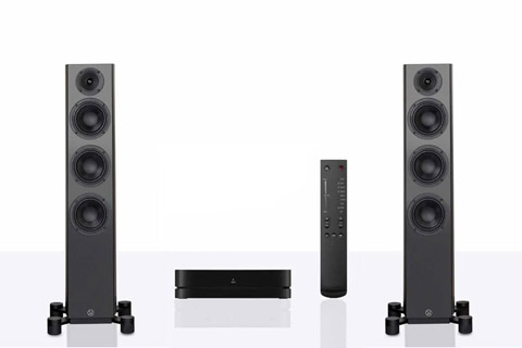 Legend 40 Silverback floorstanding speaker with hub and remote - Black