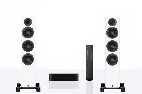 Legend 40 Silverback floorstanding speaker with hub and remote - White