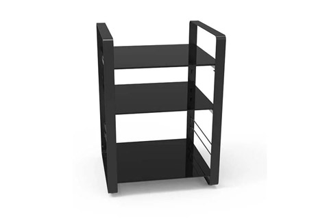 NorStone Loft Central base module, 3 shelfs, black glass/black chassis