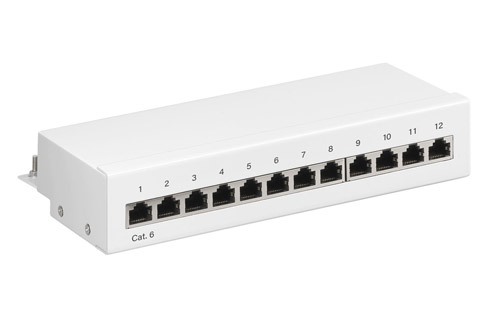 Goobay CAT 6 UTP patchpanel, 12 port, white