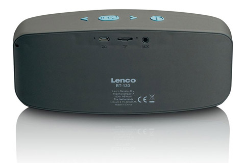 Lenco BT-130 Bluetooth speaker with Micro SD card slot - Blue back