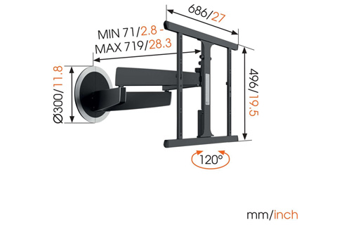 Vogels MotionMount Next 7355 wall mount, measurements