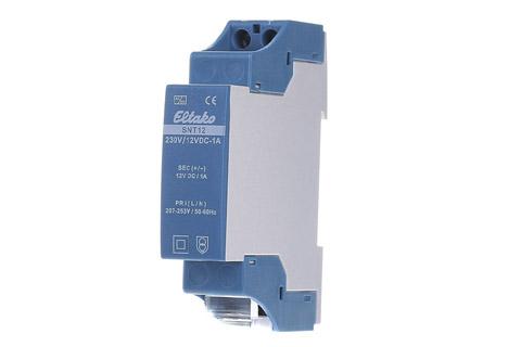 Eltako SNT12-230V/12V DC-1A DIN installations-strømforsyning, 230VAC til 12VDC 1A (12W)